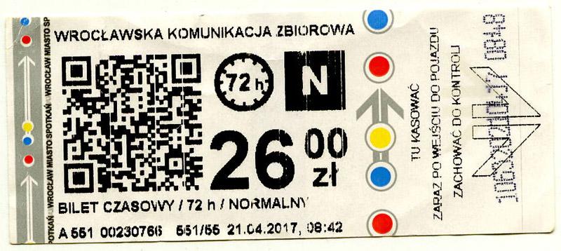 72-часовой билет для поездок в общественном транспорте Вроцлава. Фото: Александр Мироненко