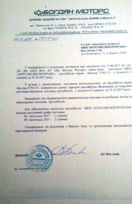 """Письмо """"Богдан Моторс"""" о причинах задержки поставки троллейбусов в Херсон"""