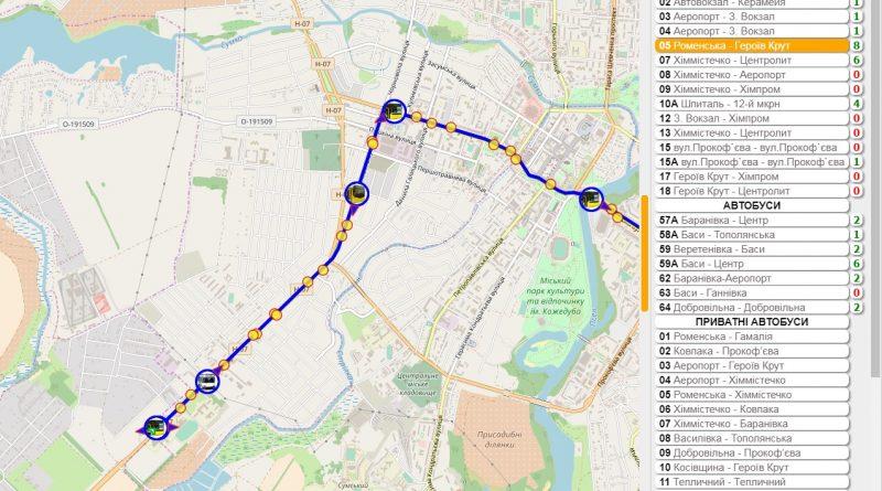 Сервис онлайн-мониторинга обшественного транспорта avtobus.sumy.ua