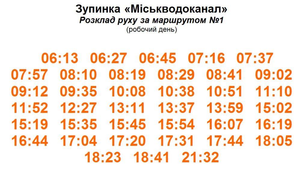 """Расписание троллейбуса №1 по остановке """"Горводоканал"""""""