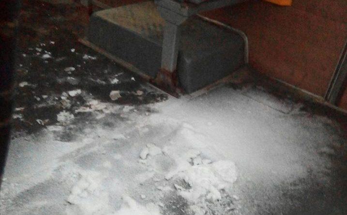 Снег в салоне маршрутки
