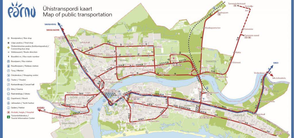 Схема автобусных маршрутов Пярну