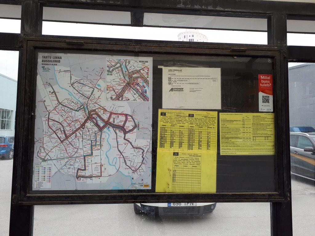 Схема городских маршрутов и расписание на тартуской остановке